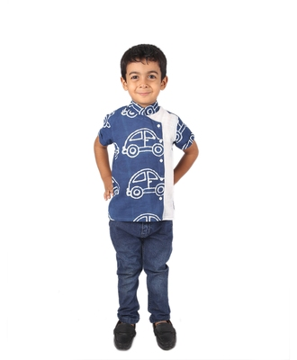 Blue Car printed cotton boys-shirt