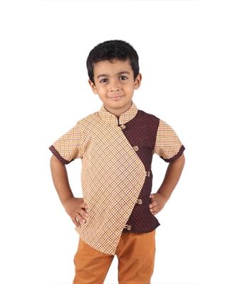 Brown printed cotton boys-kurta