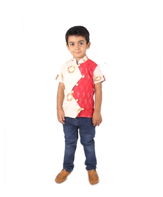 White and Red printed cotton boys-shirt