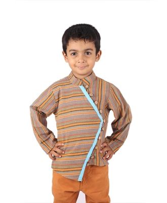 Brown Multicolored printed Stripes cotton boys-shirt