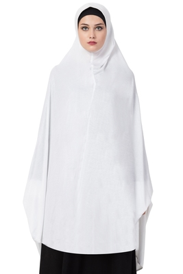 Plain Jersey Ready To Wear Hijab Khimar With Inner Cap Combo