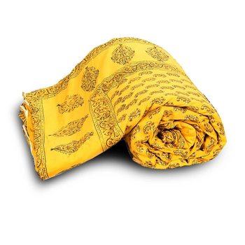 yellow cotton Handcrafted Jaipuri Razai (Quilt)