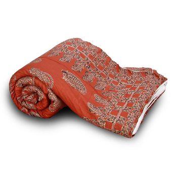 orange cotton handcrafted Jaipuri Razai (Quilt)