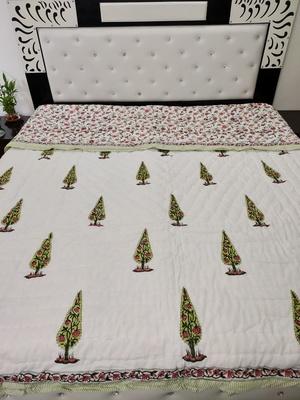 white cotton Handcrafted Jaipuri Razai (Quilt)