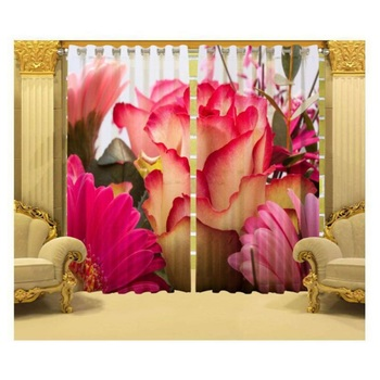 Indiancraft Rose Flower Digital Printed Polyester Fabric Curtains