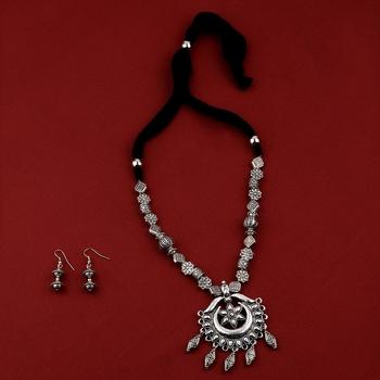 Charm Silver Oxidised  Adjustable Pendant Designer mala set Jewellery for Women girl