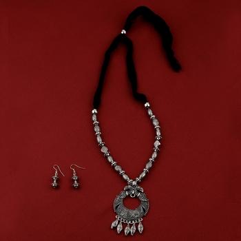 Silver Oxidised Party Wear Adjustable Pendant Stylish Mala For Women Girl