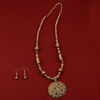 Designer Gold Plated Flower Pendant mala set for Women girl