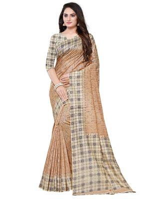 Beige printed art silk saree with blouse