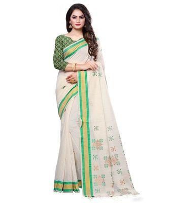 Cream printed cotton saree with blouse