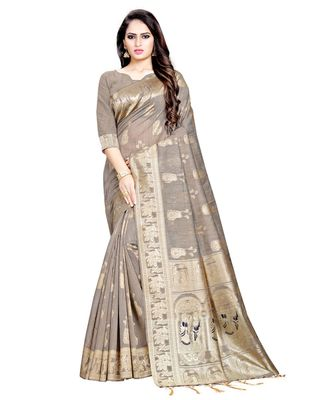 Brown printed Silk Blend saree with blouse
