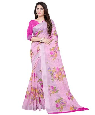 Pink printed linen saree with blouse