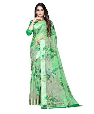 Green printed linen saree with blouse