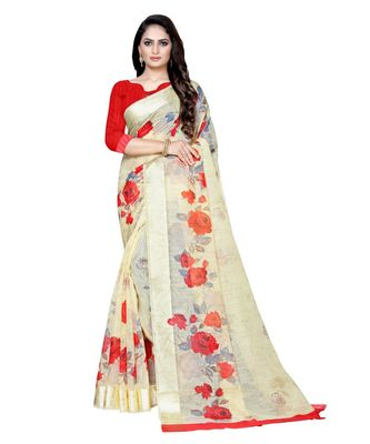 Yellow printed linen saree with blouse