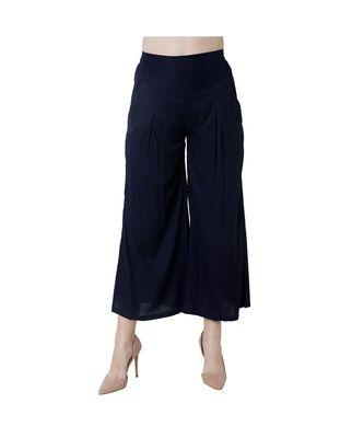 blue plain rayon trousers