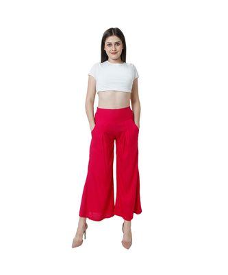 magenta plain rayon trousers