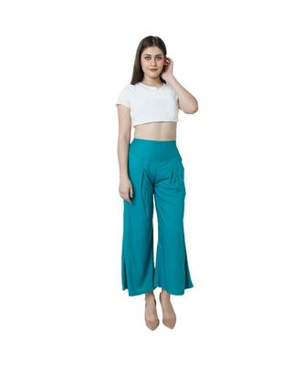Turquoise plain rayon trousers