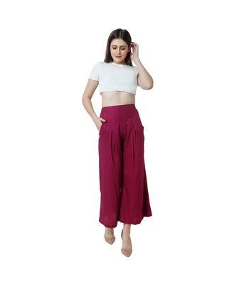 purple plain rayon trousers