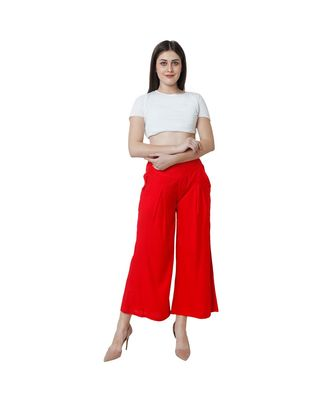 red plain rayon trousers