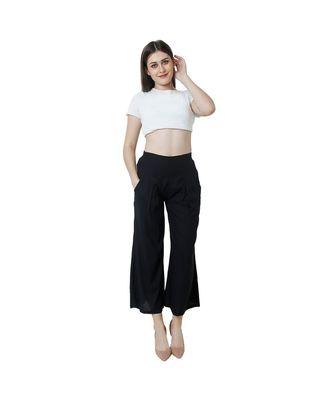 black plain rayon trousers