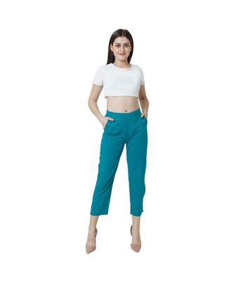 Turquoise plain Cotton trousers
