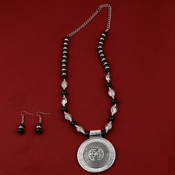 Adjustable Silver Plated With Black Pearl  Fancy Look Pendant Mala Set For Women Girl
