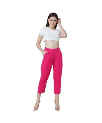 magenta plain Cotton trousers