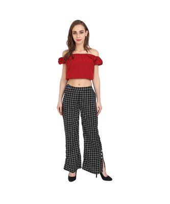 black plain Crepe trousers