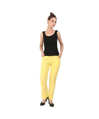 yellow plain Cotton trousers