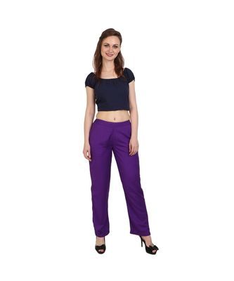 purple plain rayon trousers