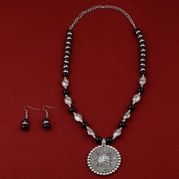 Adjustable Silver Plated With Black Pearl Ganeshji  Pendant Mala Set For Women Girl