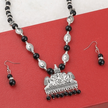 Adjustable Silver Plated With Black Pearl Designer Pendant Mala Set For Women Girl