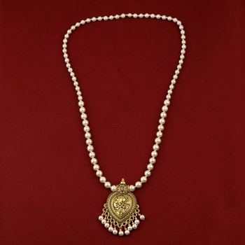 stylish Fancy Gold Plated With Pearl  Pendant mala set for Women girl