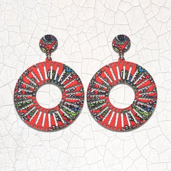 Ethnic Round Drop Wooden Light Weight Earrings for Girls and Women.