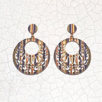 Charm Stylish Wooden Earrings Round Dangler Light Weight for Girls and Women.