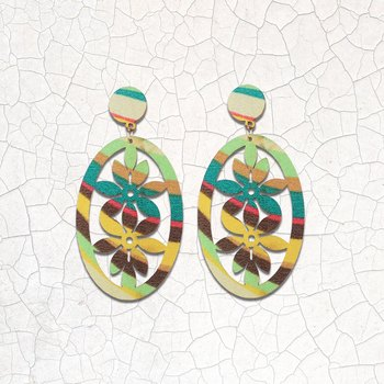 Ethnic Drop Wooden Light Weight Earrings for Girls and Women.
