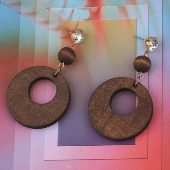 Elegant Dangler Diamond Wooden Earrings For Girls and Women