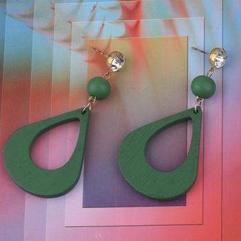 Elegant Diamond Light Weight Dangle Wooden Earrings for Girls and Women.