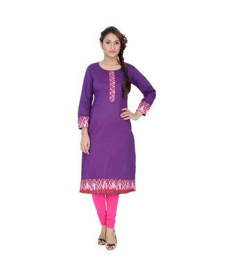 purple printed cotton kurti