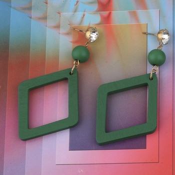 Handmade stylish Diamond Wooden Light Weight Earrings for Girls and Women.
