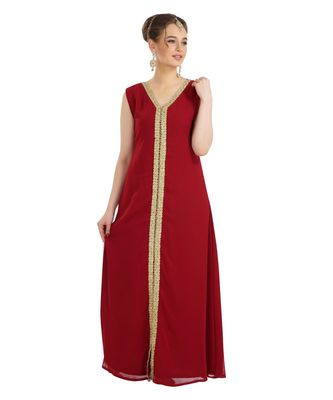 Maroon Georgette Embroidered Zari Work Islamic Kaftan