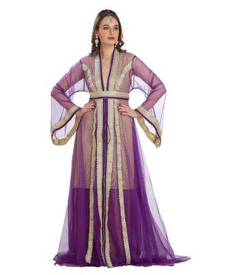 Beige Georgette Embroidered Zari Work Islamic Kaftan