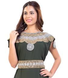 Olive Georgette Embroidered Zari Work Islamic Kaftan