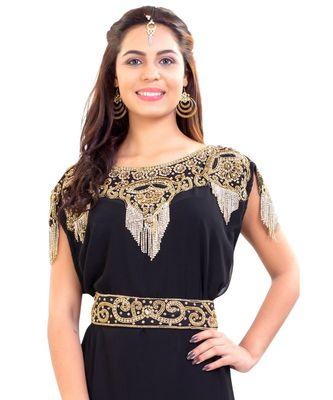 Black Georgette embroidered zari work islamic kaftan