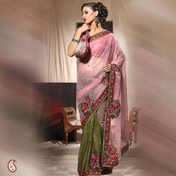 Wonderful Embroidered Saree With Heavy Net Pallu