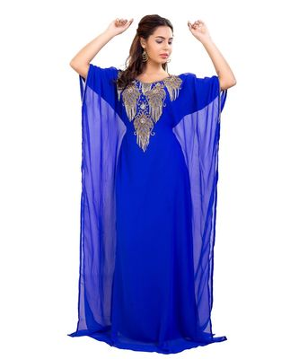 Blue Georgette Embroidered Zari Work Islamic Kaftan