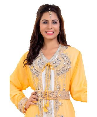 Yellow Georgette Embroidered Zari Work Islamic Kaftan