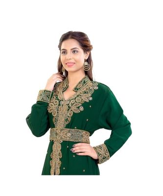green Georgette embroidered zari work islamic kaftan