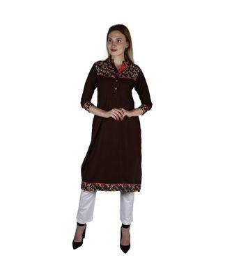 brown printed rayon kurti