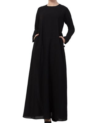 Black Nida A Line Abaya With Side Pockets